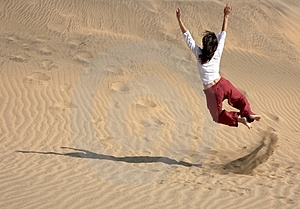 Chaplin Jumping In The Dunes Stock Image - Image: 1176061