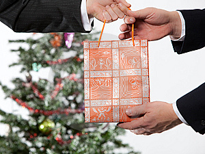 Business Man Receiving A Christmas Gift Royalty Free Stock Images - Image: 11704389