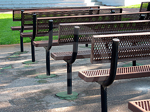 Row Of Park Benches Royalty Free Stock Photos - Image: 1188928