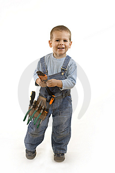 Little construction boy Stock Photography