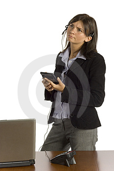 Female Office Worker With Calculator - Thinking Royalty Free Stock Photos - Image: 1194478