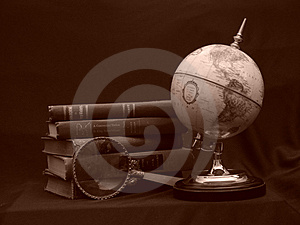 Globe with Books Sepia