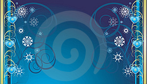 Blue Christmas Toys With Snowflakes. Banner Royalty Free Stock Image - Image: 11930936