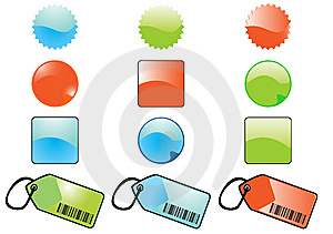 Glossy buttons&tags Royalty Free Stock Images
