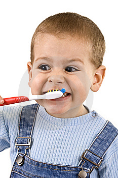 Boy brushing Stock Photo