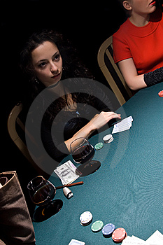 Attractive Girls Playing Poker Royalty Free Stock Image - Image: 11940106