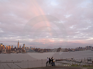 Rainbow Over Manhattan Stock Photo