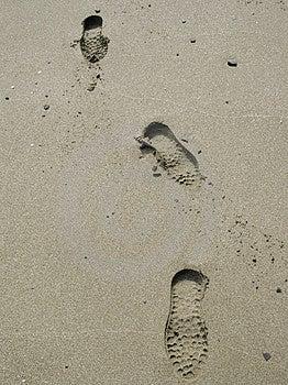 Beach footprints Royalty Free Stock Image