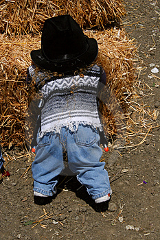 Child at the Haystack Royalty Free Stock Images