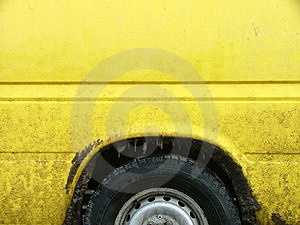 Dirty Yellow Car Free Stock Photography