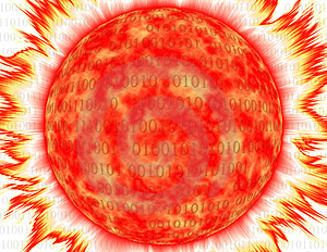 Binary Corona In Red And Yellow Over White Stock Photography