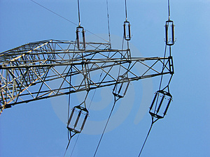 Power Transmission Line Insulators Stock Photo