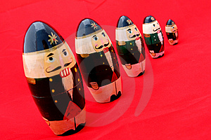 Nested Nutcrackers On Red 2 Free Stock Photos