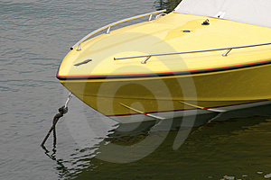 Yellow boat Stock Images