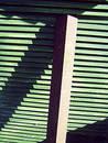 Green slated wood and girder