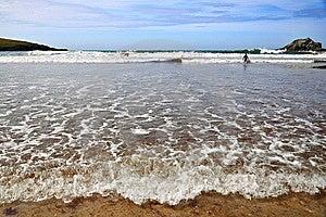 Low Tide Beach - Atlantic Coast, Cornwall, UK Stock Images - Image: 12000784