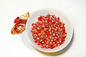 Pomegranate Seeds In A Bowl Stock Photo - Image: 12228890