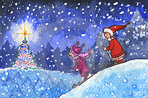 Kids skiing in xmas night Stock Images