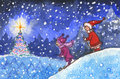 Kids skiing in xmas night