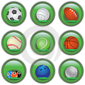 Green Sport Buttons Stock Photography - Image: 12271152