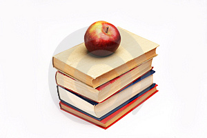 Pile Of Books And Apple Royalty Free Stock Images - Image: 1230609