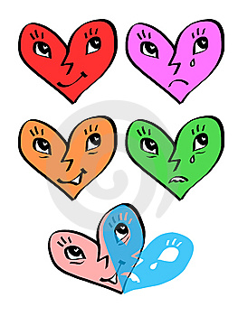 Heart Emotion Faces - Joy And Sadness Masks Royalty Free Stock Photo - Image: 12314915