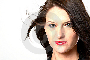 Windy dark hair woman Royalty Free Stock Photos