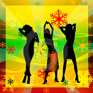 Female Silhouettes Dancing In A Disco Royalty Free Stock Photo - Image: 1258465
