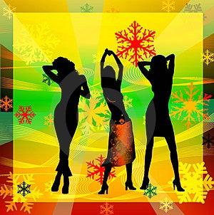 Vrouwelijke Silhouetten Die In Een Disco Dansen Royalty-vrije Stock Foto - Afbeelding: 1258465