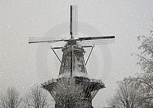 Windmill In The Snow Royalty Free Stock Photo - Image: 12510725