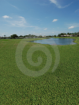 Golf Course With Lake Views Stock Images - Image: 1260174