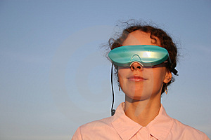 Woman With Massage Glasses Stock Image - Image: 1266211