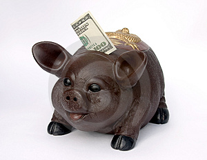 Piggy Bank With U.S. One Hundred Dollars In Slot Royalty Free Stock Images - Image: 1270359