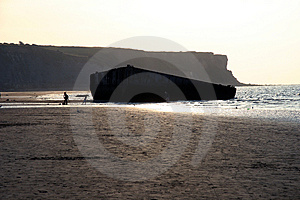 The Landing Beaches At Arromanches, France. Royalty Free Stock Photos - Image: 1277458