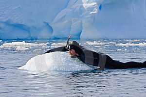 Diver On The Ice Stock Image - Image: 12738671