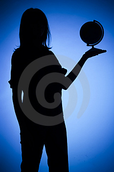 Silhouette Of Woman With Globe Stock Photography - Image: 1282592