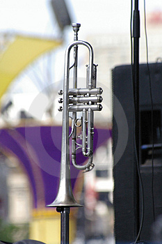 Silver Trumpet On Stand Stock Images - Image: 1283024