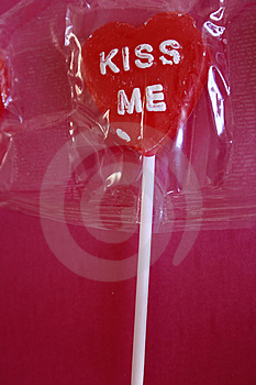 Lollipop Heart With Kiss Me Royalty Free Stock Image - Image: 12864616