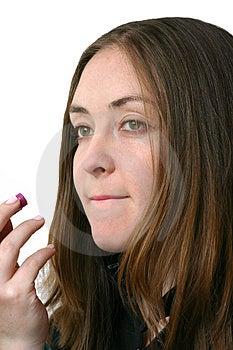 Applying Lipstick 2 Stock Image