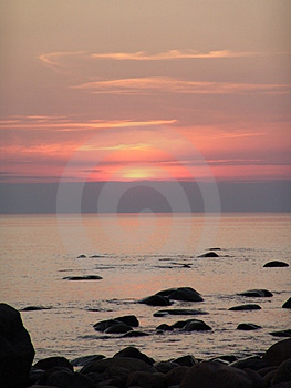 Senset On Baltic Sea Free Stock Photography