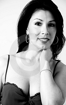 Portrait Of Sexy Latina In Black And White Free Stock Image