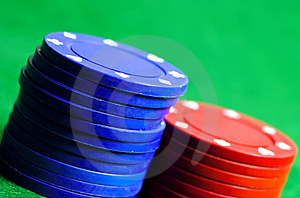 Blue And Red Chips Stock Photography