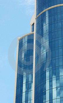 Blue sky, blue skyscraper Royalty Free Stock Image