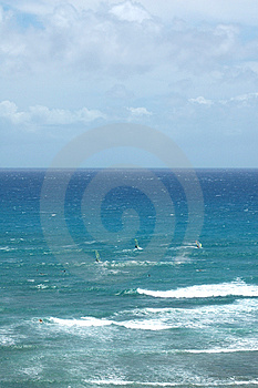 Windsurfers At Diamond Head Free Stock Photography