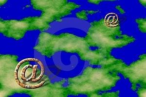 Símbolos del correo electrónico sobre fondo de la tierra Imagen de archivo