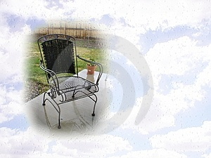 Patio Chair And Sky Postcard Free Stock Images