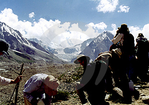 Takjing A Break In The Himalayers Free Stock Image