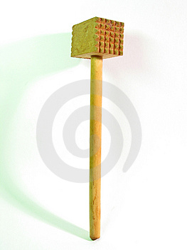 Wooden Meat Hammer Stock Photography