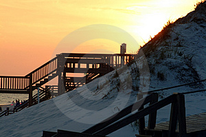 Sunset Boardwalks And Birdhouse Stock Images