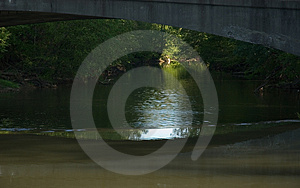 Dark River With Light In Distance Free Stock Image